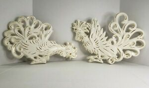 """Set of 2 Vintage White Gold B+B Ceramic Rooster Cock Farm House Wall Decor 15"""""""