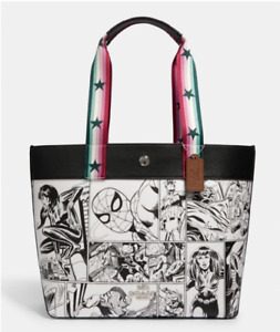 Coach Marvel Comic Book Black White Leather Tote Bag Limited Edition BRAND NEW