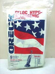 9 Sealed Package Oreck XL Top Fill Vacuum Cleaner Bags