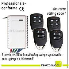 Kit ricevitore radio bicanale + 4 telecomandi 433mhz apricancello garage luci