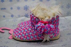 Jenni Women's Aqua Pink Blue Knit Slippers Boots Medium 7-8