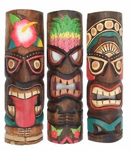 3 Máscara Pared Tiki 50cm 3er Set de Madera Máscaras