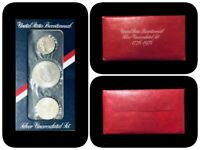 Lot of 3 1976-S Bicentennial SILVER Uncirculated 3-Coin Sets in Map Holders