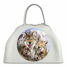 Wolf Pack Selfie Family Wolves White Metal Cowbell Cow Bell Instrument