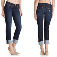 """Hudson Women's Size 25"""" Ginny Crop Straight W/Cuff Dark Wash Jeans"""