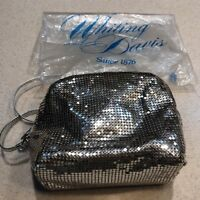 Vintage Whiting and Davis Silver Metal Mesh Handbag Purse Cross Body Bag