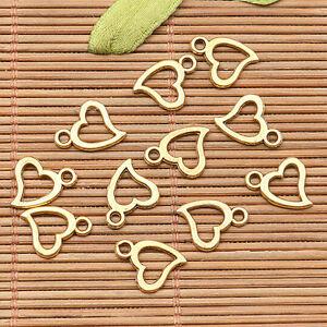 80Pcs  dark dull gold tone little cute heart frame  design charms H1372