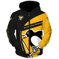 PITTSBURGH PENGUINS Hoodie Hooded Pullover S-5XL Ice HOCKEY Fans NEW DESIGNS