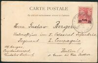 Deutsche Post in der Türkei, Postkarte mit Obstträger (Mi.-Nr.13I) Const.-Berlin