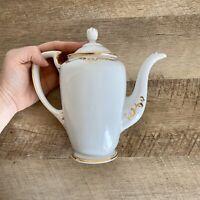 Noritake Teapot White Ivory Gold Gilded Tall Coffee Tea Pot Vintage Antique