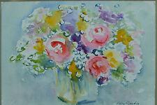 Charmante aquarelle Bouquet de fleur signé CLAIRE GAUDIN STILL LIFE PAINTING