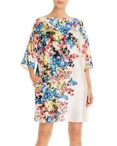 Paule Ka Floral Print Shift Dress 3/4 Sleeve Mini White Pullover Sz 46 Women New
