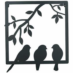 3 Birds on Wire Branch Wall Art Metal Frame Silhouette Garden Home Decoration