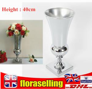 40cm Large Stunning Silver Iron Flower Vase Urn Luxury Wedding Home Table Decor
