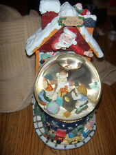 Santa Clause And Elves Snow Globe Music Box Plays 12 Different Songs