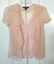 Ralph Lauren 100% Silk Sheer Blouse Top Ruffle Peach Womens Size 6