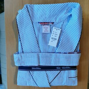 Brooks Brothers Men's Seersucker Cotton Traditional Fit Striped Bath Robe Large
