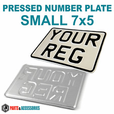 7x5 SMALL WHITE REFLECTIVE Motorcycle Bike Aluminium Metal PRESSED Number Plate