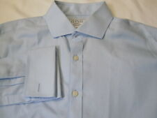CHARLES TYRWHITT Slim Fit Non Iron French Cuff Solid Blue Dress Shirt 16.5 -34
