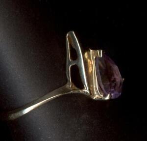 New 10K 1.57 Gram Solid Yellow Size 7.75 Pear Purple Amethyst Gemstone Ring gv