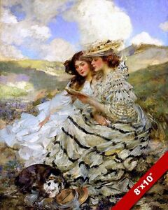 BEAUTIFUL VICTORIAN ERA WOMEN READING ON BEACH PAINTING ART REAL CANVAS PRINT