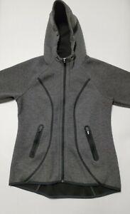Athleta Hoodie Jacket Womens Medium Charcoal Gray Full Zip Thumbholes Pockets