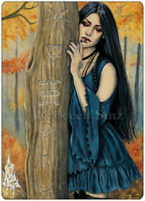 Gothic Fantasy Art ACEO PRINT Autumn Witch Witchcraft Pagan Symbols Forest