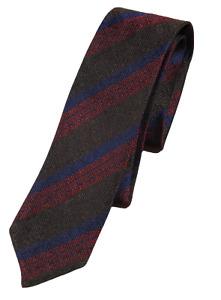 NWT - Drake's – Brown Grenadine Silk Tie w/Red & Blue Regimental Stripe