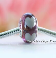 Authentic Pandora Authentic 925 ALE Pandora Purple Murano Glass W/Hearts Charm