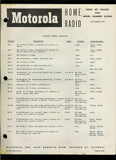 Rare 1952 Motorola Home Radio Chassis Versus Receiver Specifications Info Manual