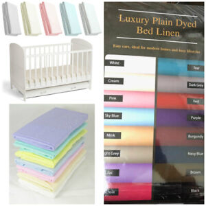 Plain Dyed Poly Cotton Luxury Cot Fitted Sheet Fits Cot 60x120 Cotbed 70x140