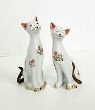 2 Cat Figurines Andrea by Sadek Handcrafted in Thailand Brown Floral HTF Pair 6""