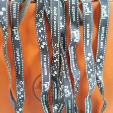 2 x Ribbon Original Authentic 100% Hermes Logo Embroidered Brown Carriage Bows