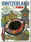 "Vintage Illustrated Poster *FRAMED* CANVAS PRINT ~ Switzerland TWA 16""x12"""