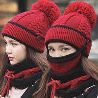 Winter Women Ladies Wooly Knit Hat And Scarf Set Knitted Woollen Beanie Ski Cap