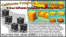 Steel 55gal Drums/Barrels-Palleted 5pc 4-Barrel N/1:160-CAL Freight & Details Co