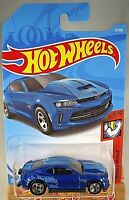 2019 Hot Wheels #71 Muscle Mania 5/10 '18 COPO CAMARO SS Blue Variant w/5 Spokes