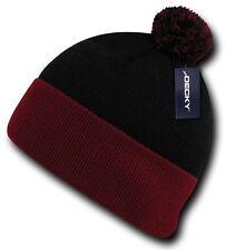 Black / Red Pom Pom Ski Snowboard Winter Skull Warm Cuffed Long Knit Beanie Hat