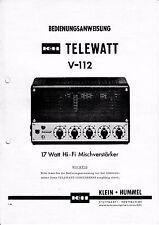 Istruzione funzionamento con schema-istruzioni per piccoli Hummel telewatt v-112