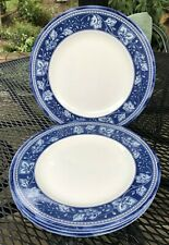 RARE!!!  Set of 4 Wedgwood Home Amway Dinner Plates BLUE FLORAL FLowers England