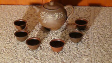 ANTIQUE CHINESE YIXING CLAY TEAPOT WITH 6 WINE CUPS WITH 4 CHARACTER MARK