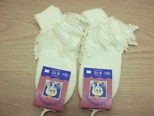 2 Pairs of GIRLS CREAM DROP DOWN LEAF LACE ANKLE SOCKS