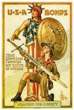 1918 Boy Scouts Bonds WWI American Patriotic Wartime Advertisement Poster Print