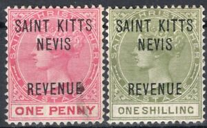 ST. KITTS-NEVIS TWO REVENUE STAMPS MNG/MH