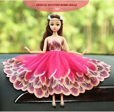 Wedding Dress Peacock Magenta Dolls Car Accessories Interior Girls Decoration