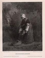 "Nice 1800s Jean-Francois MILLET Woodcut ""Empress of the Beans"" SIGNED Framed COA"