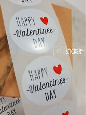 Happy Valentines Day stickers,  Favour stickers, Red heart, Round label stickers