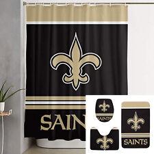 New Orleans Saints Bathroom Rugs 4PCS Shower Curtain Bath Mat Toilet Lid Cover
