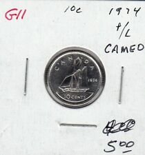 G11 CANADA 10 CENTS 1974 PROOF-LIKE FROSTED CAMEO DESIGN - CHARLTON $5.00