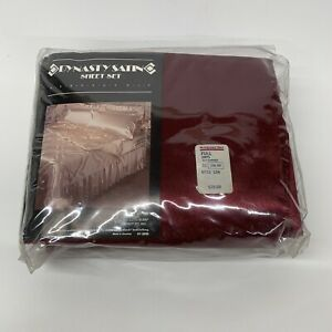 Vintage Dynasty Satin Sheet Set Red (garnet).  Made In USA